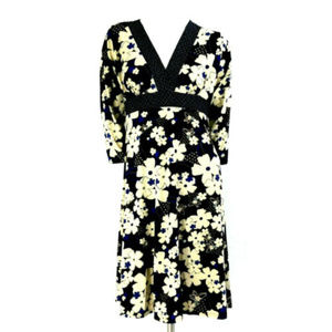 Enfocus Studio Floral 3/4 Sleeve A-Line Midi Dress